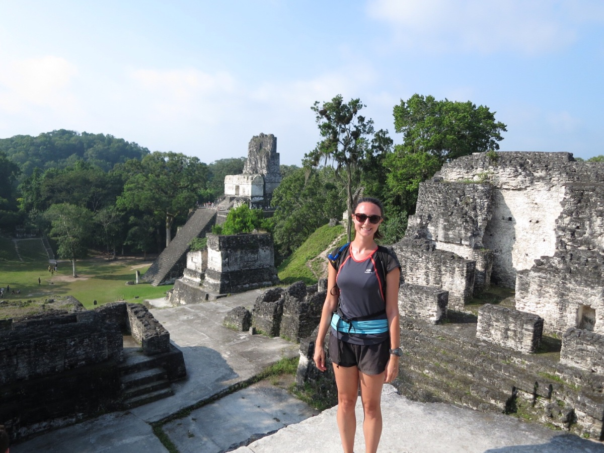 Running around the Maya ruins at Tikal, Guatemala